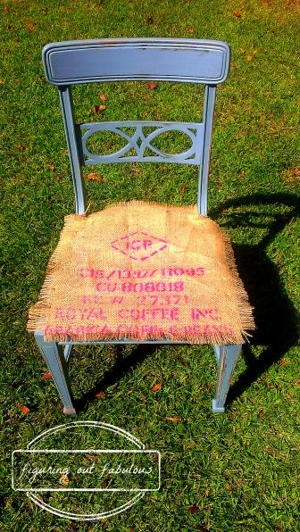 blue burlap fringe chair2