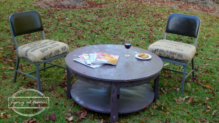 coffee table with school chairs