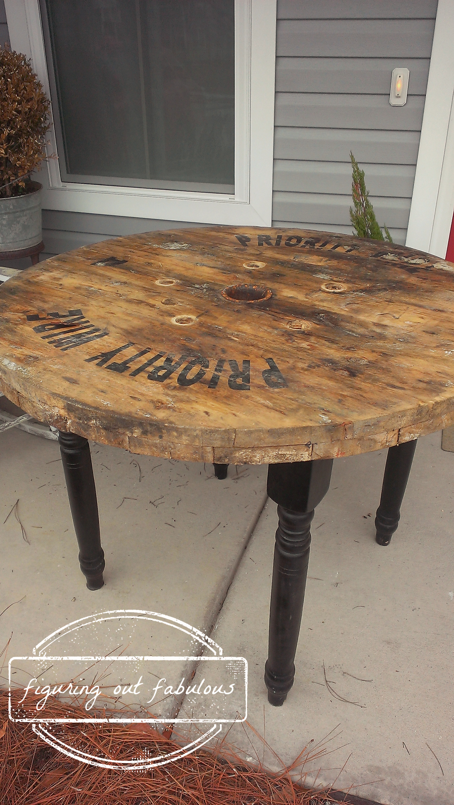 Industrial spool table figuring out fabulous for Large wooden spools used for tables