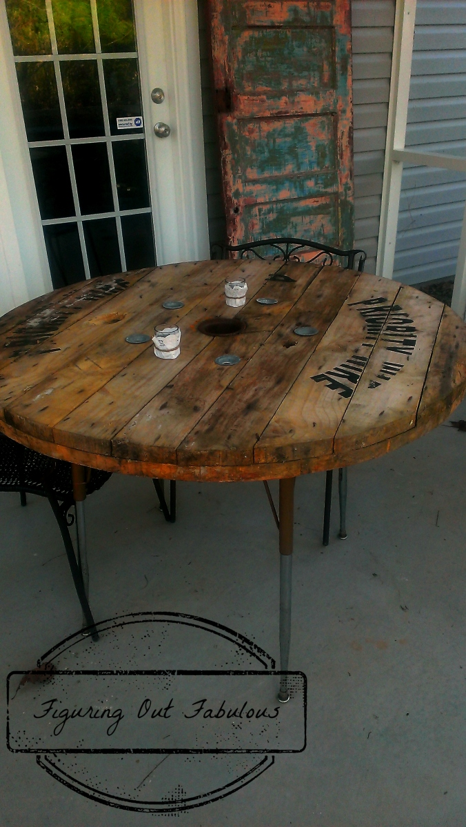 Industrial spool table figuring out fabulous for Outdoor tables made out of wooden wire spools