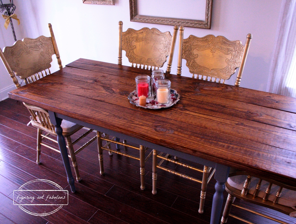Dining room saga farmhouse style dining table figuring for Styling dining room table