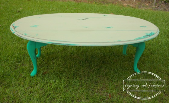 teal and white coffee table