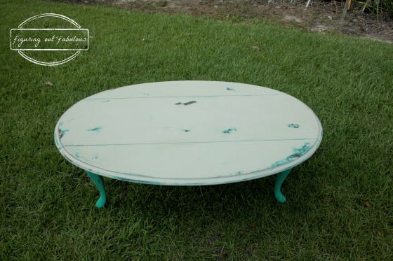 teal coffee table top