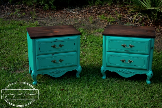 teal nightstand